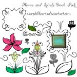 FREE Flowers and Spirals Photoshop Brush Pack by marphilhearts